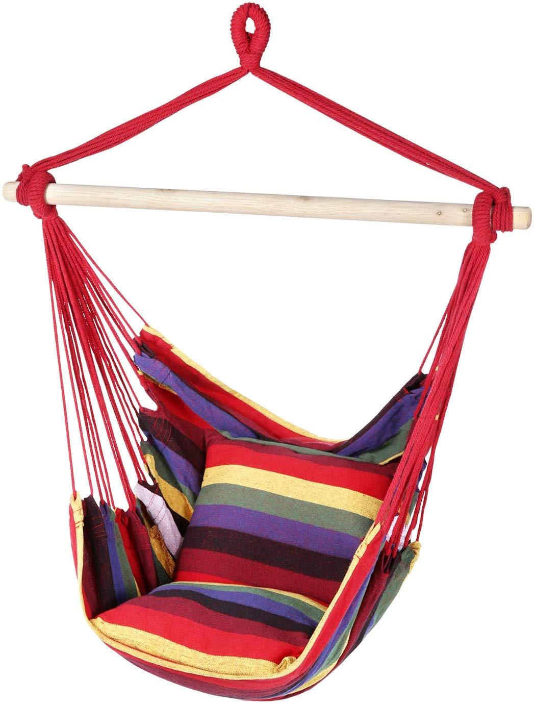 ENKEEO Hamac pivotant avec siège et barre en bois pour intérieur, extérieur